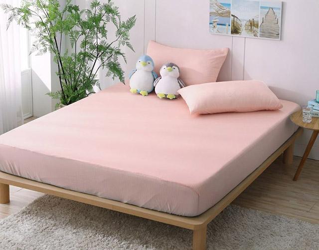 DON雙人日式瞬間涼感床包枕套三件組-多款任選典雅粉
