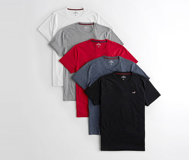 Hollister -經典圓領刺繡海鷗素面短袖T恤