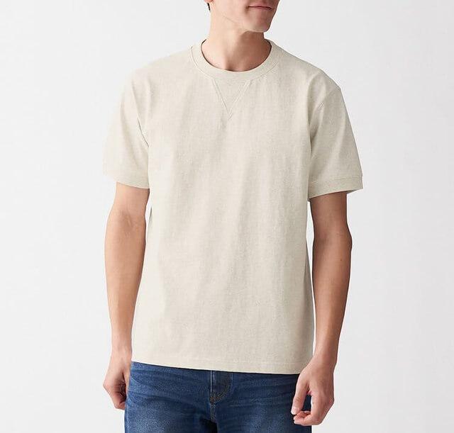 MUJI 無印良品 -有機棉粗織天竺縫邊短袖T恤
