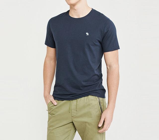 A&F -經典圓領電繡麋鹿素面短袖T恤