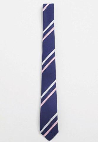 ASOS DESIGN slim fit navy & pink stripe tie