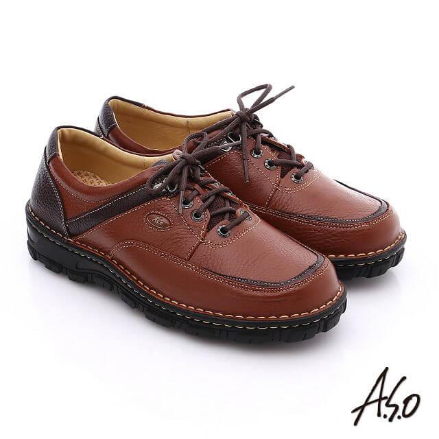 A.S.O阿瘦 抗震雙核心 真皮拼接網布綁帶奈米休閒鞋