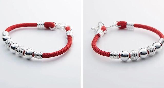 足銀轉運珠紅繩手鍊