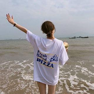 推薦品項:La BellezaPIZZA英文字長版棉質T恤