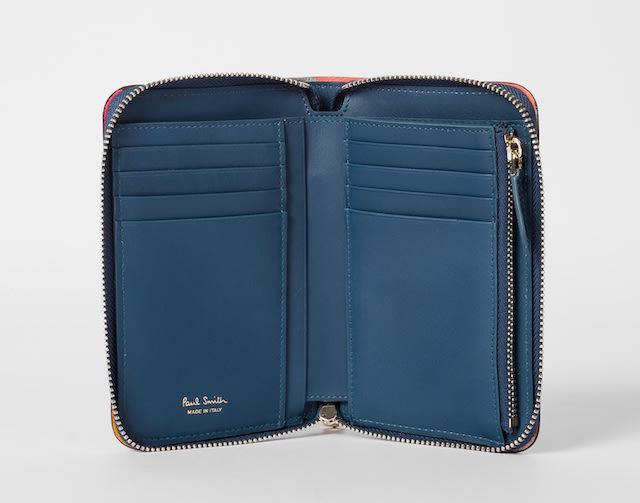 Paul Smith Women's Medium Blue 'Swirl' Border Leather Zip-Around Purse