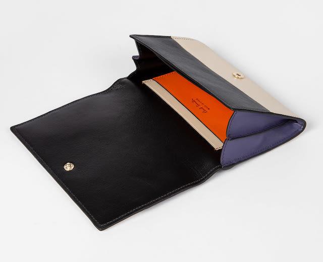 Paul Smith Women's Slate Colour-Block 'Concertina' Medium Tri-Fold Purse