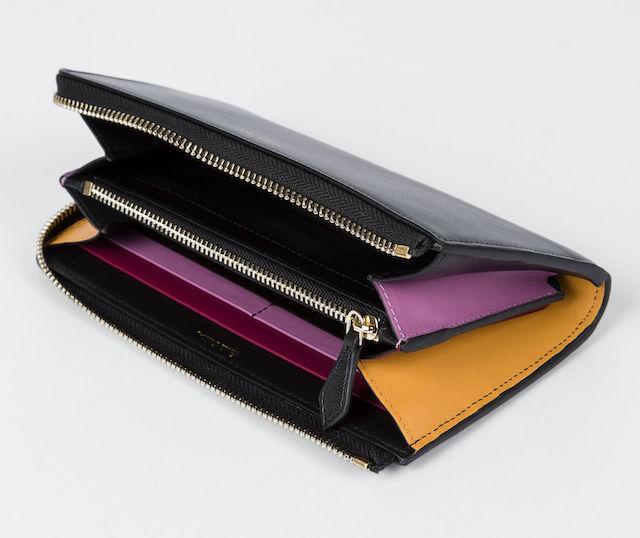 Paul Smith Women's Large Black 'Concertina' Leather Zip-Around Purse