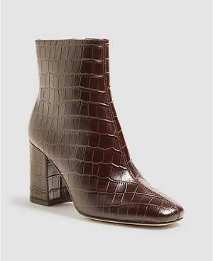 North Embossed Leather Heeled Booties