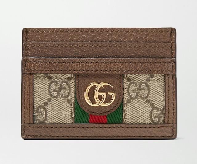 GUCCI Ophidia 紋理皮革邊飾印花塗層帆布卡夾