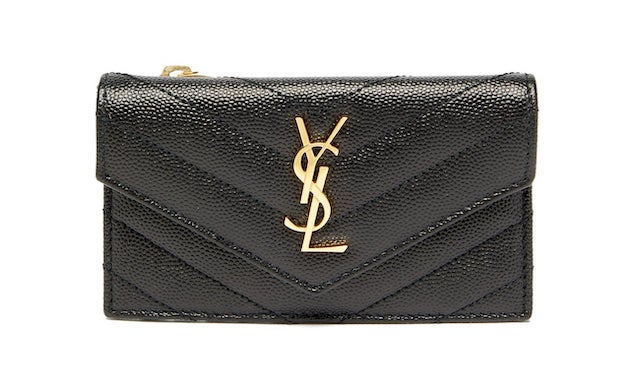 YSL-logo quilted-leather cardholder