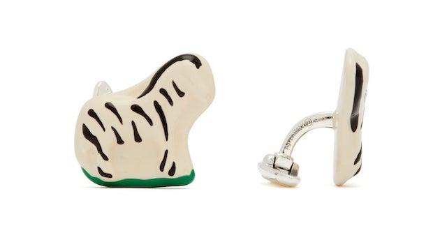 BOTTEGA VENETA Zebra sterling silver enamel 袖扣