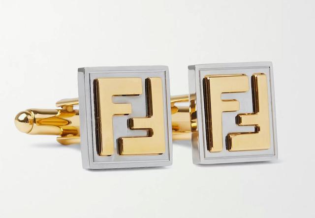 FENDI Logo-Embossed Gold-Tone and Palladium-Plated 袖扣